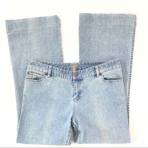 J.Jill Distressed Flare Light Wash Jeans Blue 12